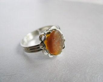 Sea Glass Ring - Amber Brown Sea Glass - Beach Glass Ring - Beach Glass Jewelry