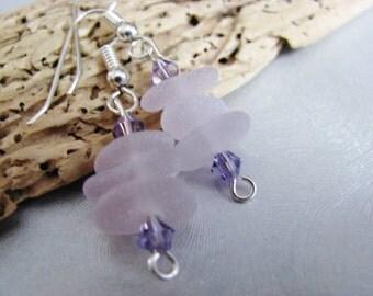Amethyst Sea Glass Earrings - Stacked Beach Glass - Dangle Earrings - Beach Glass Jewelry