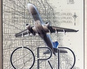 RECYCLED ARTWORK. Up in the Air Series. ORD. O Hare International Airport, Chicago. MapArt using a 1937 Map (reserved)
