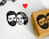 Custom couple portraits / Save the date invitations / rustic wedding stamp gift / self inking / wood block mount / for thank you bride face