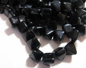 Czech BeadStuds- 6mm square, 6.5mm tall, 2 Holes -Jet- 25 Beads