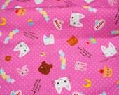 Kawaii Nontan  print japanese fabric  50 cm 53   or 19.6 by21 Fat Quarter
