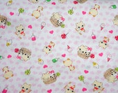 Fluffy cats print with heart and sweets half meter 50 cm by 106 cm or 19.6 by 42 inches (HAKO11A)