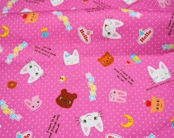 Kawaii Nontan  print japanese fabric  50 cm 53   or 19.6 by21 Fat Quarter