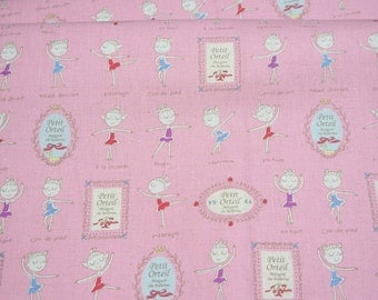 Japanese fabric Ballerina print Cotton linen  Half Meter 50 cm 106 cm or 19.6 by 42 inches nc12