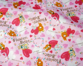 Japanese fabric bear and heart print Half Meter nc42