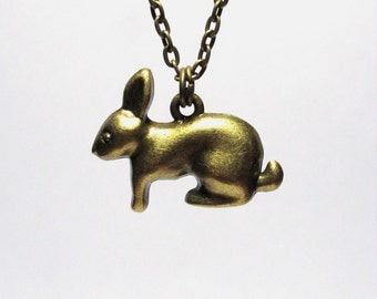 Rabbit  Necklace,  Bunny Pendant, Woodland Animal Jewelry, Antique Bronze Bunny Charm, Easter Jewelry, Easter Necklace
