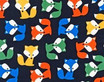 Two (2) Yards - Urban Zoologie Fox Pups Robert Kaufman Fabric AAK-14723-269 PARK Navy Blue