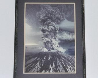 Vintage Large Framed Photograph Mount St. Helens Eruption