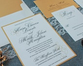 Gold Invitation, Traditional Wedding Invitation  -Classic Invite, Formal Invitation - Custom Design - Kiara and Malik