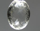 Checkerboard faceted oval natural clear Quartz centerpiece bead, 57.15 carats       066-009-009