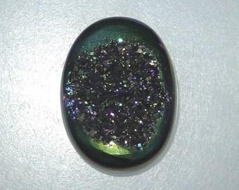 Oval Titanium Drusy gemstone, metallic green with multi colors, 14.49 carats          096-10-105