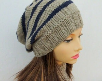 KNITTING PATTERN/CAMPUS  Striped Slouch Hat Easy Beanie Pattern/Aran Worsted Striped Hat/Stocking stitchWomans Hat