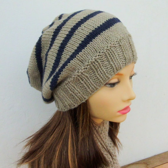 KNITTING PATTERN/ CAMPUS/ Striped Slouchy Beanie Pattern/Easy
