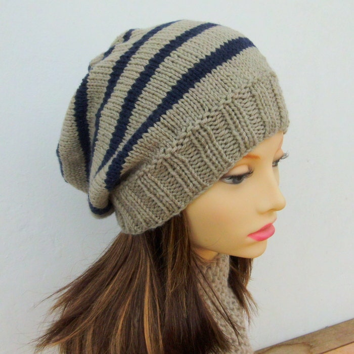 Knit Pattern Beanie Easy : KNITTING PATTERN/ CAMPUS/ Striped Slouchy Beanie Pattern/Easy