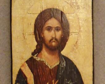 ICON JESUS IKONOGRAFIA Handcrafted litho offset on wood image hand Gilt Fray PatricioJose app 5.2x3.2x1