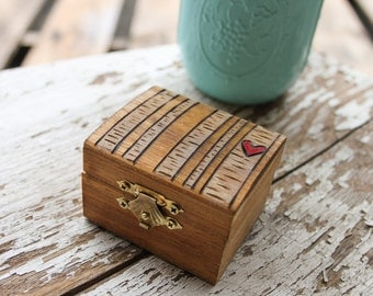 Proposal Box - Birch Tree Forest -wedding ring box - engagement ring box - wedding gift - jewelry box - wooden ring box