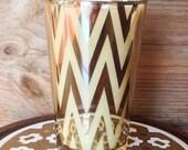 Gold Chevron Glass Candle - Caldera - Capri Blue Volcano Type
