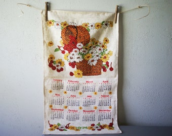 Calendar Towel 1974 | Linen Fabric | Wall Hanging | Sequin Accents | Fall Daisies | Kitchen Wall Decor | Kitsch Towel | Yellow and White