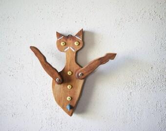 Folk Art Sad Cat Key Hook | Wooden Cat | Primitive Wall Art | Entrance Way Organizer |  Kitty Decor | Feline Collectible