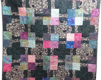 Throw Quilt or Wall Hanging with Circles and Squares