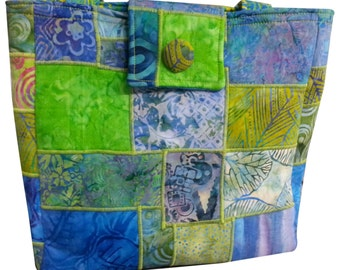 Large Patchwork Purse in Blue, Teal and Green Batik