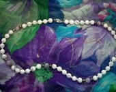 Vintage Marbled White Purple Gray Glass Beaded Necklace