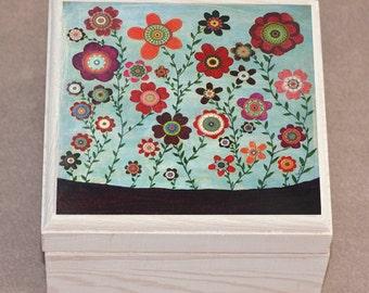 Wooden Handmade Flower Jewelry Box Wooden Jewellery Box