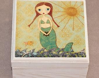 Mermaid Jewelry Box - Cute Mermaid Gift - Little Mermaid Jewelry Box - Handmade Jewelry Box - Mermaid Trinket Box - Wooden Jewelry Box