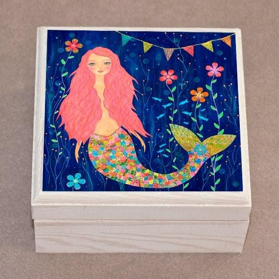 Mermaid Jewelry Box, Pink Mermaid Gift Box