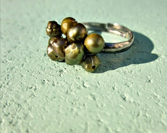 Olive Green Pearl Wire Wrapped Adjustable Silver Ring: Pesto