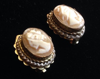 Antique Carved Shell Vermeil Clip On Earrings