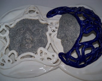 Celestial wall decor- moon &stars-ceramic-ooak-cobaltblue - white with stone look faces-open work pottery