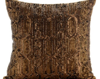 """Gold Decorative Pillow Cover, 16""""x16"""" Silk Pillows Cover, Square  Sequins Lattice Trellis Antique Glitter Pillows Cover - Gold Old Times"""