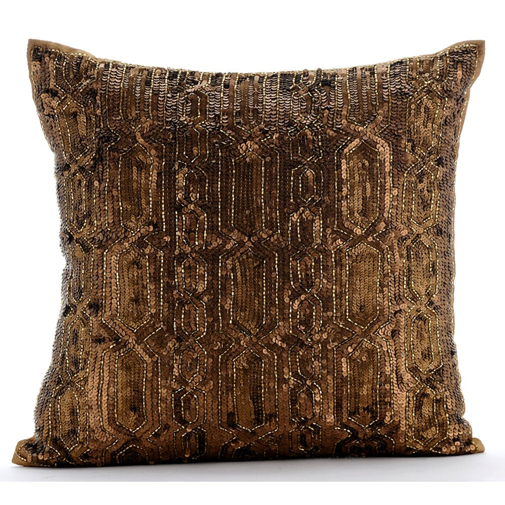 Gold Decorative Pillow Cover 16x16 Silk Pillows