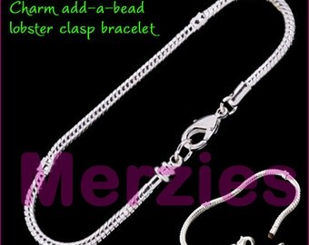 MERZIEs 19cm add a bead silver plated add a bead European Charm beads chain bracelet with lobster clasp