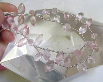 SALE Faceted Rose Quartz Marquise Pointer  Briolette Beads