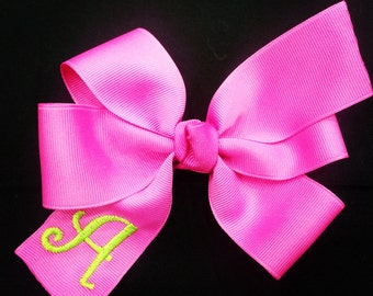 Hot Pink Bow - Personalized Hair Bow - Girls Hair Bow - Monogrammed Hair Bow - Monogramed Gift - Groovy Gurlz