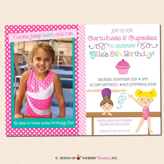 Girls Gymnastics Birthday Party Photo Invitation Cartwheels