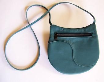 Teal Green Leather Purse - Crossbody Style Festival Bag - Medium Round Handbag