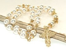 Anglican Prayer Beads, White Pearl Christian Rosary / Christian Wedding Beads