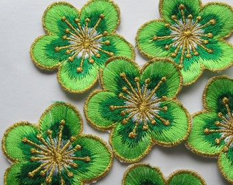 4 Pieces of Embroidered Green Cherry Blossom Iron On Patches Free Shipping