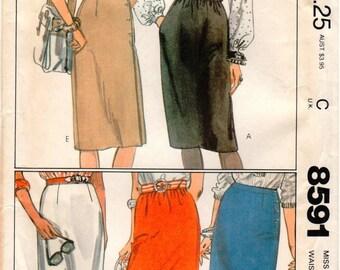 Vintage UNCUT McCall's Pattern 8591 Misses Skirts - Size 14