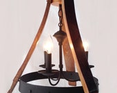 Sancho Mini wine barrel Chandelier recycled oak staves and hoop pendant light, ceiling lamp, 3 lights