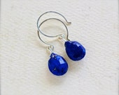 Midnight Earrings - organic lapis lazuli earrings, royal blue gemstone drop earrings, lapis lazuli earrings, blue stone earrings, DE22