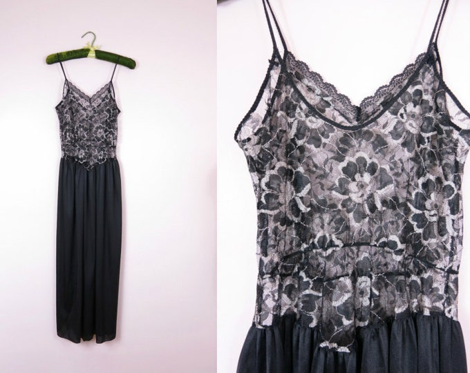 1980s Black & Silver Lace Nightgown S