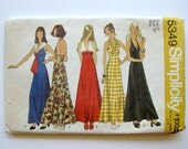 1970s Vintage Sewing Pattern - Halter Maxi Dress with Sailor Collar - Simplicity 5349 / Size 12