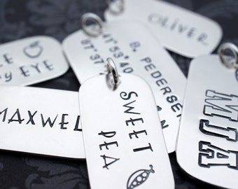 Personalized Sterling Silver Dog Tag - Three Size Options - Single or Double Sided - EWD Extras and Add Ons
