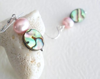 Pink Abalone Shell Earrings, Freshwater Pearls, Beachy Jewelry