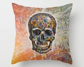"Decorative throw pillows cover ... from my original abstract landscape painting, ""Skull"" ... 16"" x 16"""